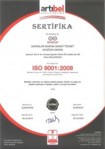 Saygınlar Makina ISO 9001:2008 Sertifikası